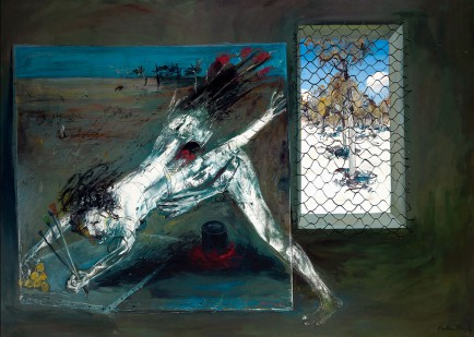 Arthur Boyd Paintings in the studio: 'Figure supporting back legs' and 'Interior with black rabbit', 1973–74