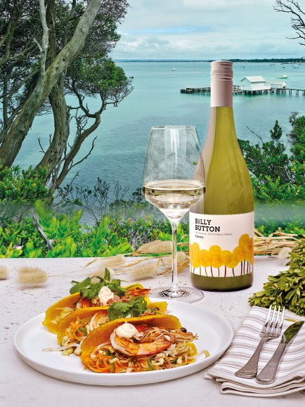 Billy Button Fiano 2016 with Soft Prawn Taco recipe