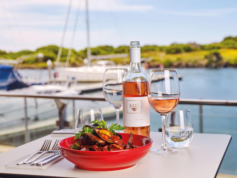 Portarlington mussels, white wine, tomato, basil and chilli broth