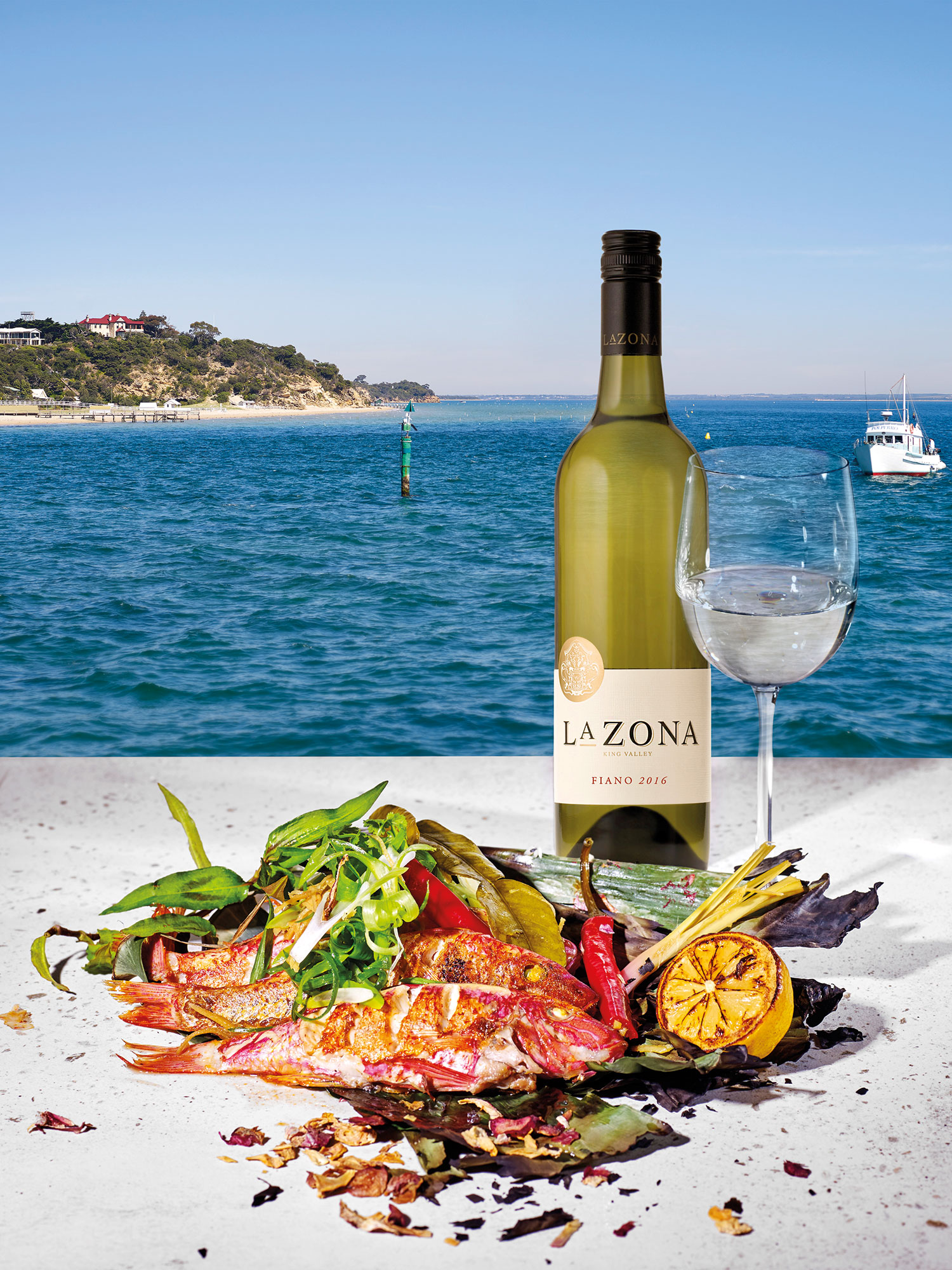 La Zona Fiano 2016 with Banana Leaf Steamed Red Mullet