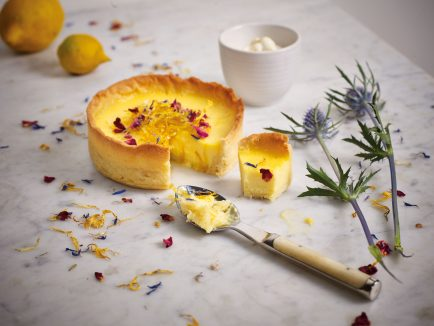 Classic Lemon Tart with sweet lemon zest and salade de fleurs