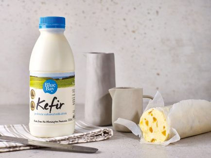 Blue Bay Kefir, from Mornington, Victoria has no added thickeners or preservatives – it can last a good six weeks on the fridge shelf.