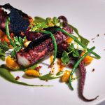 Chargrilled Octopus, potato and chorizo purée, wedges of Cape gooseberry, foraged samphire and sea celery