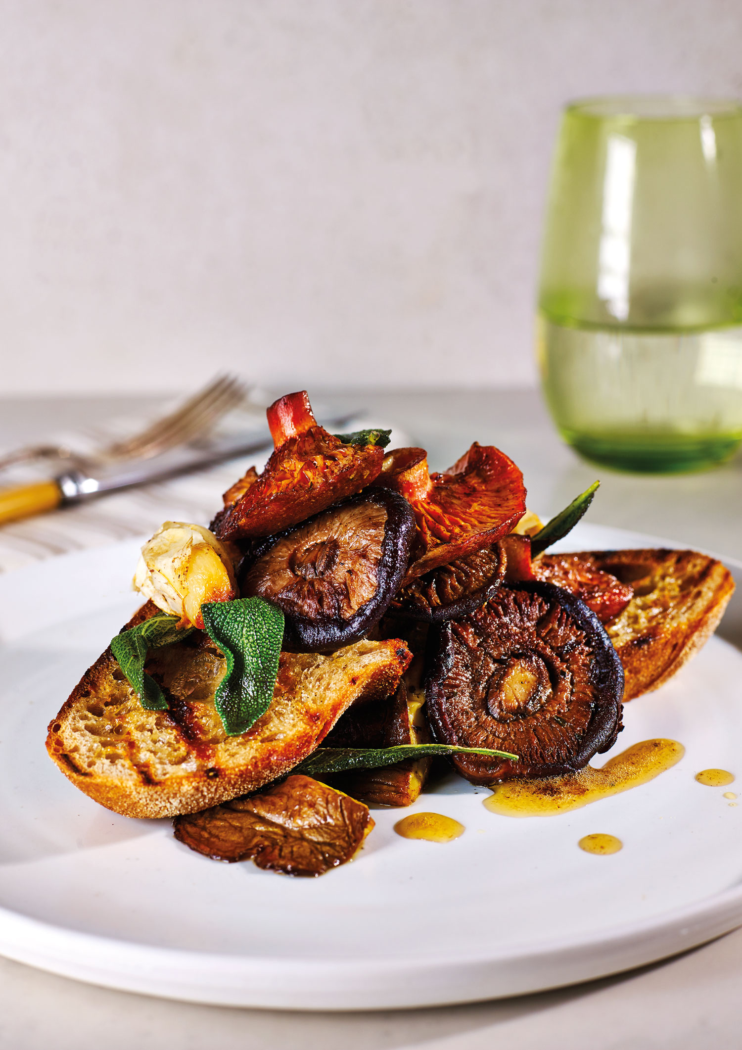 Mushrooms on Toast with roasted garlic and Lemon Sage Butter