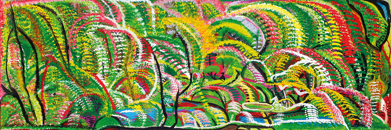 Gertie Huddleston, Flowers in the Bush, 2006 120 x 40cm, Acrylic on canvas