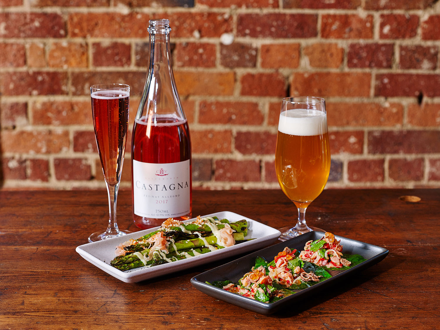 Grilled Asparagus with miso mayo; Betel Leaves with smoked trout and chilli jam