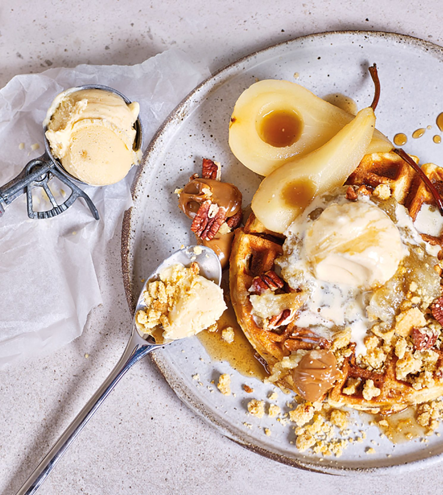 Autumn/Winter Waffles with poached pears, pecan crumble, salted caramel sauce