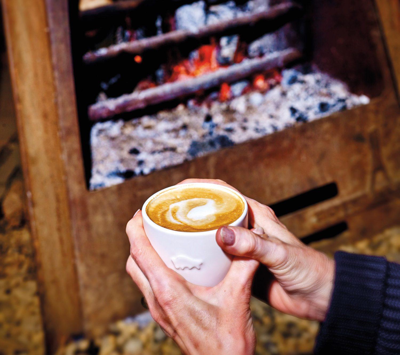 Barista coffee, fireside