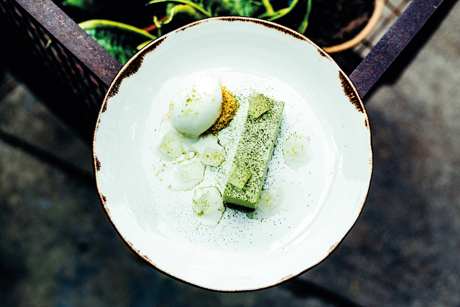 Matcha Cheesecake with yoghurt and yuzu sorbet