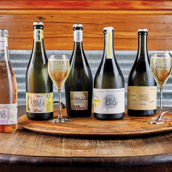 The prosecco collection, in order from sweeter to drier: Pink Pucino Prosecco NV, Pucino Prosecco NV, vintage Pucino Prosecco, L'Immigrante Prosecco, Col Fondo