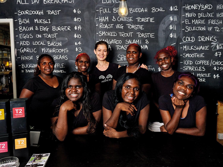 Fresh faces from Australia's top end at Dumu Balcony Café, from left: Melanie Cook (back), Amaya Harris (front), Bernice Bitting (back), Danielle Chettleburgh (back), Lauren Bitting (front) Margaret Bitting (back) Veronica Munar (back) and Beatrice Bitting (front).