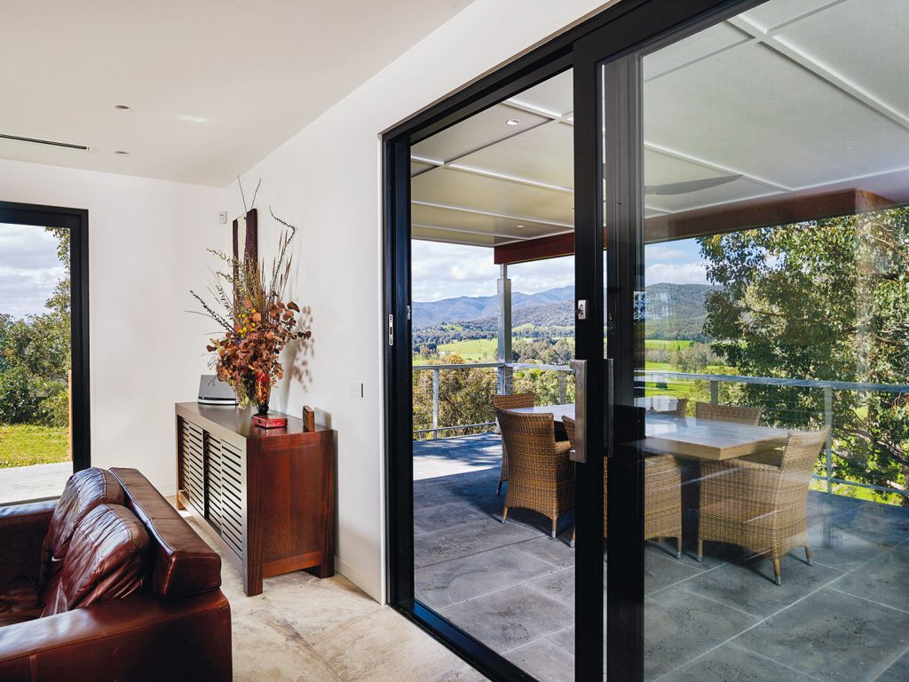 A covered al fresco entertaining area with views east to Ovens Valley