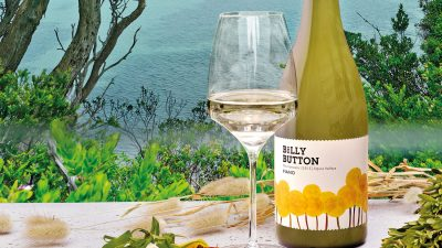 Soft Prawn Taco with Billy Button Fiano