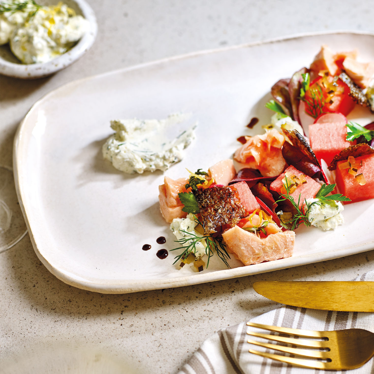 Confit Salmon with crisp skin wafer