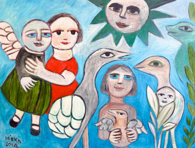 Mirka Mora, Blue Eyes Angel's Dream, 2014 oil on canvas, 90 x 121cm