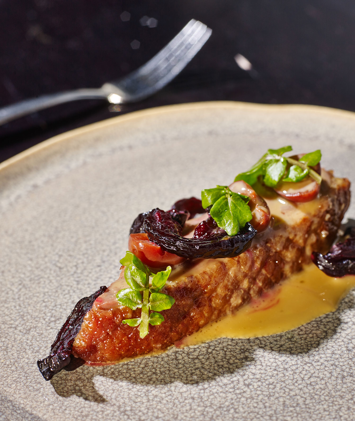 Maremma duck-roasted breast, brown rice congee