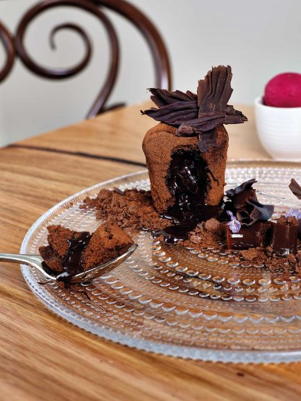 Chocolate Fondant with Cacao Jelly and Chocolate Crumble