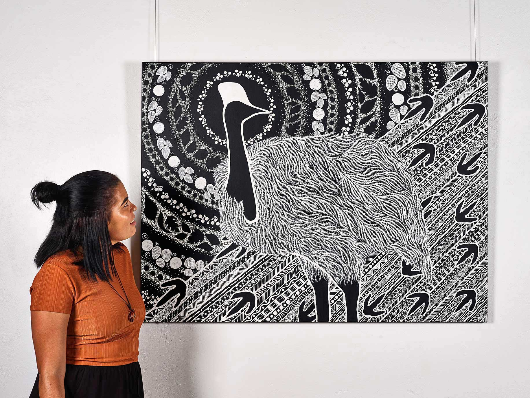 Artist Tarsha Davis at Aboriginal Exhibitions Gallery at Rutherglen Estates