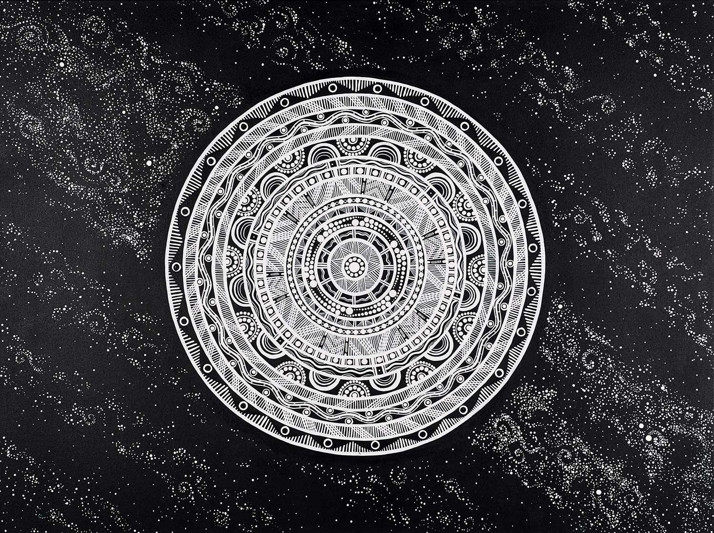 Tarsha Davis, Kija (moon), 2019; 122 x 92cm, acrylic on canvas