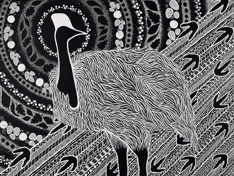 Tarsha Davis, Kurranji (cassowary), 2019; 122 x 92cm, acrylic on canvas