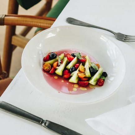 ARC Dining Tomatoes, Pickled Blueberries, Perilla