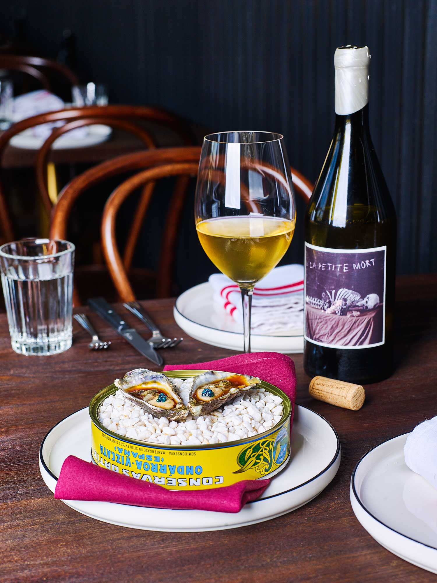 Port Stephens' oysters, sherry vinaigrette, wild scampi caviar at Maeve Wine, Southbank