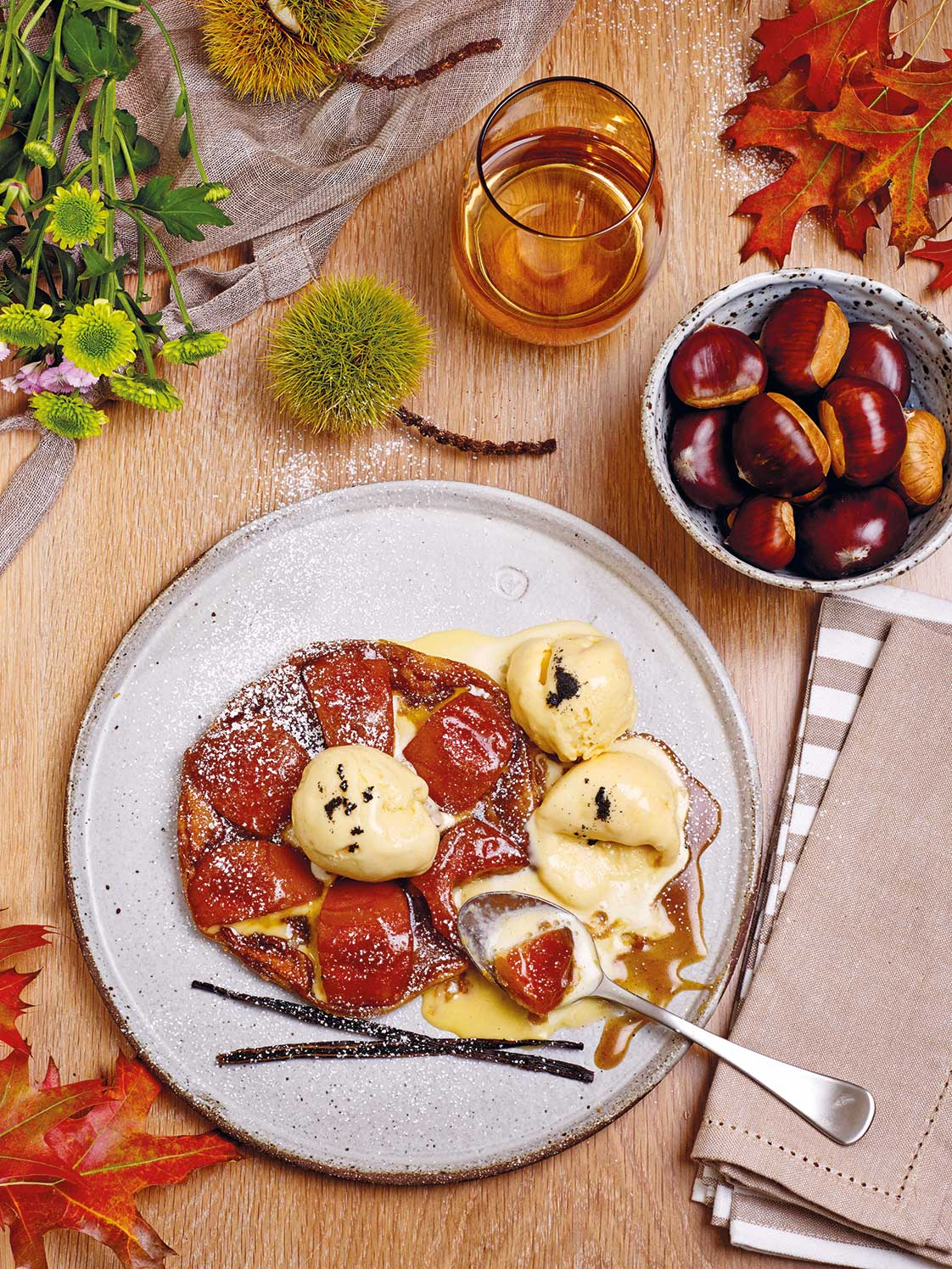 Poached Quince Tarte Tatin with chestnut puff pastry and buttermilk ice-cream