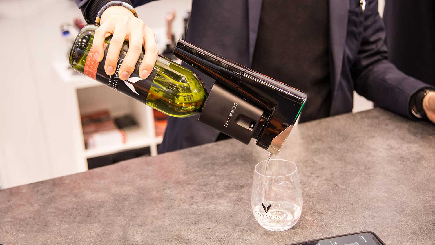 The Coravin Model Eleven opens wine without removing the cork, preserves your vino with argon gas and uses Bluetooth to connect to your phone