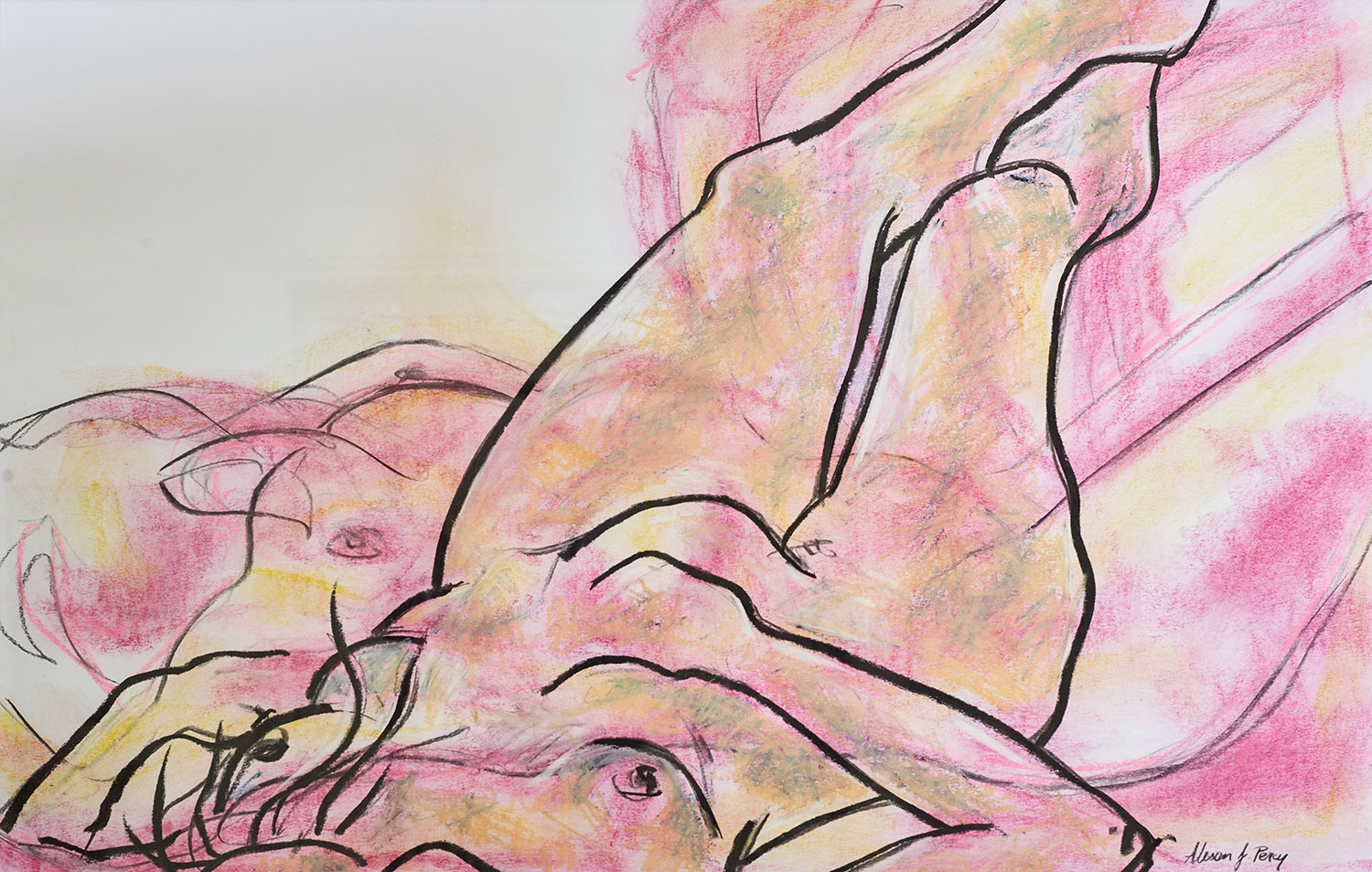 Alison Percy, Reclining Figure, Soft pastel, compressed charcoal