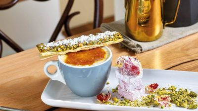 Buttermilk Rice Pudding with Baklava Wafer, Turkish Delight and Sugared Rose Petals